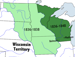 Wisconsin Territory - Map of the Wisconsin Territory, 1836–1848