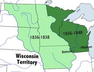 ウィスコンシン準州、1836年-1848年。薄緑はアイオワ準州として分... ウィスコンシン州の