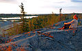 Woman watching late night sunset in Yellowknife 2.jpg