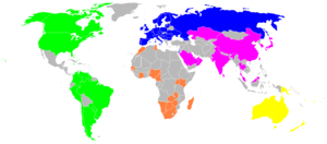 Nations participating in qualifying competition and those that have qualified automatically; Asia (purple), Africa (orange), Americas (green), Europe (blue) and Oceania (yellow). In total, over 90 nations took part.