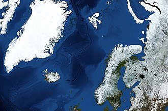 Norwegian Sea - Norwegian Sea, surrounded by shallower seas to the south (North Sea) and northeast (Barents Sea). The white dot near the centre is Jan Mayen, and the dot between Spitsbergen (large island to the north) and Norway is Bear Island.