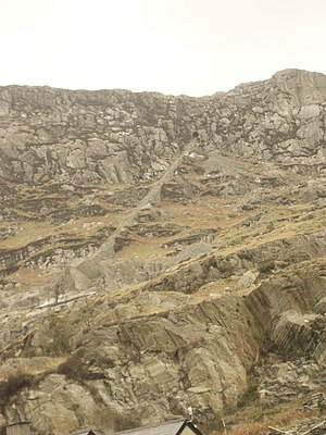 Wrysgan Quarry - The 625 ft high exit incline from Wrysgan