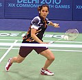 XIX Commonwealth Games-2010 Delhi Indian shuttler Saina Nehwal in action against her Barbados opponent during their match in the preliminary round of badminton event, at Sirifort Sports Complex, in New Delhi.jpg