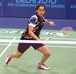 XIX Commonwealth Games-2010 Delhi Indian shuttler Saina Nehwal in action against her Barbados opponent during their match in the preliminary round of badminton event, at Sirifort Sports Complex, in New Delhi
