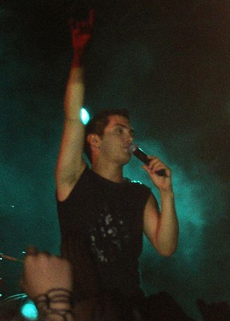 Michalis Hatzigiannis - Hatzigiannis during a concert in Katerini on 13 July 2005.