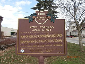 Xenia, Ohio - Historical Marker: Xenia Tornado April 3, 1974