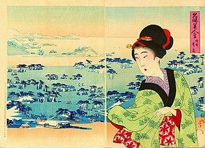 Toyohara Chikanobu - Meisho Bijin Awase series, Matsushima in Rikuzen Province
