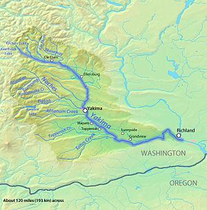Yakima River - Image: Yakimarivermap