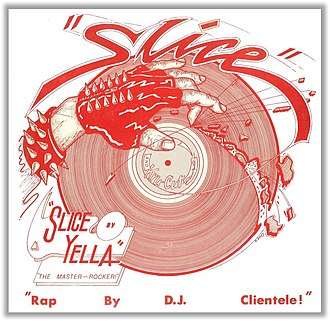 "DJ Yella - The cover for the Yella's first single ""Slice"" (1984) with the Wreckin' Cru"