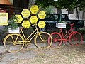 Yellow and red bicycles, Vörösmarty Street, 2020 Százhalombatta.jpg