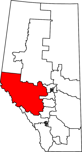 Yellowhead (electoral district) - Yellowhead in relation to other Alberta federal electoral districts as of the 2013 Representation Order.