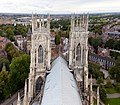York Minster's West towers from the central tower.jpg