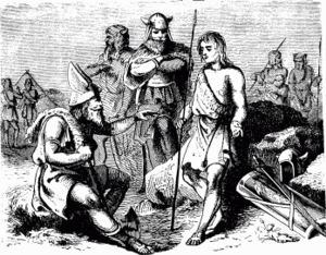 Battle of Naissus - A 19th century imaginary depiction of Gothic warriors from Charlotte Mary Yonge, Young Folks' History of Rome, 1880
