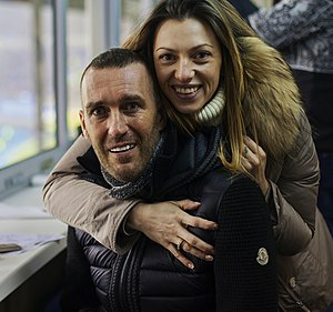 Fernando Ricksen - Fernando Ricksen and his wife attending the Europa League game Zenit St. Petersburg v PSV Eindhoven on 26 February 2015
