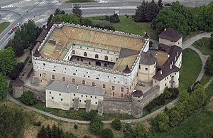 Medieval architecture - Zvolen Castle in Slovakia strongly inspired by Italian castles of the fourteenth century