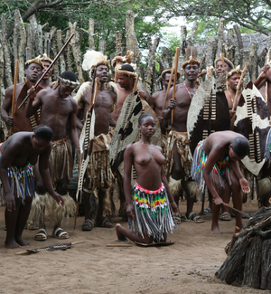 Zulus in South Africa during traditional dance
