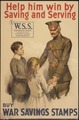 """""""Help him win by saving and serving. W.S. S. war Saving Stamps issued by the United States Government. Buy War Saving... - NARA - 512650.tif"""