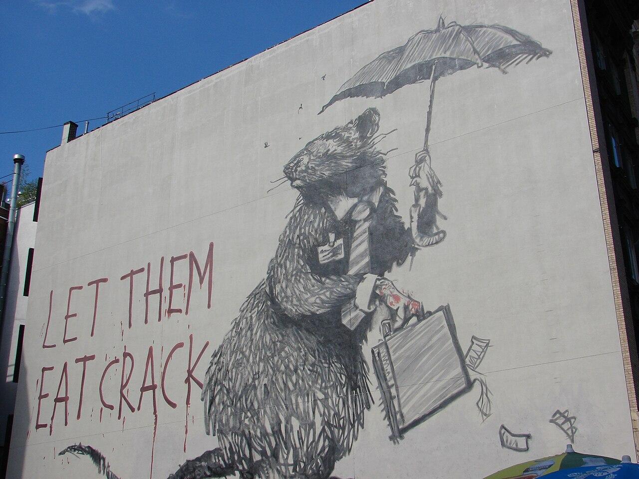 File let them eat crack banksy mural in manhattan 2008 for Banksy rat mural