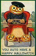 """You Auto Have a Happy Hallowe'en."" (Jack-O-Lantern driving a car)"