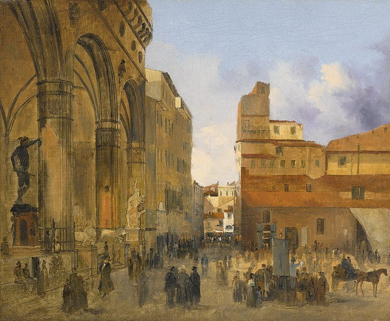 File:'Florence, A View of the Piazza della Signoria with the Loggia dei Lanzi at Left' by Ippolito Caffi.jpg