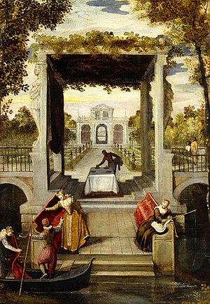 Benedetto Caliari - 'Garden in a Venician Villa', painting by Benedetto Caliari, 1570-1580, Academia Carrara (Bérgamo, Italy).jpg