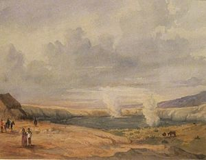 'Kilauea Crater, Hawai'i Island', watercolor over graphite on paper by René Gillotin, Honolulu Museum of Art.JPG