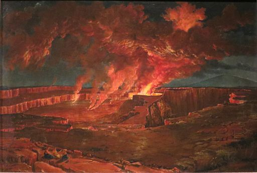 'Kilauea by Night', oil on canvas painting by Titian Ramsay Peale, 1842