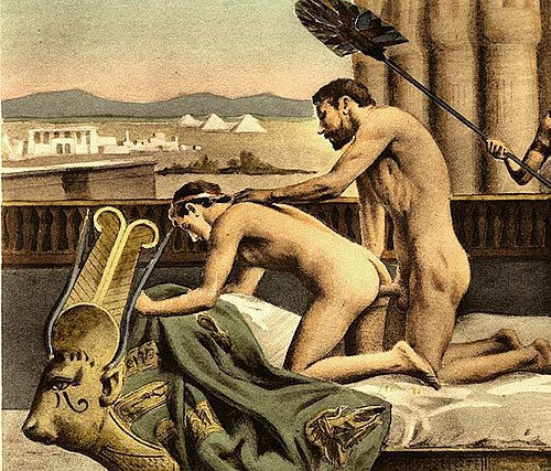 19th-century erotic interpretation of Hadrian and Antinous, by Paul Avril (cropped out female slave on right for use of image to illustrate anal sex specifically).