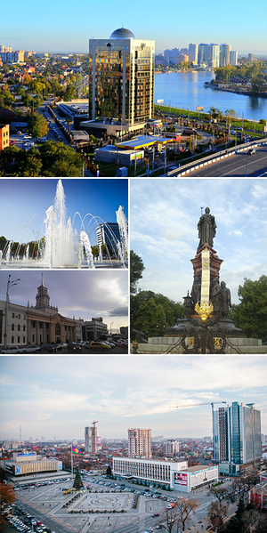 Krasnodar - Top: View of Rosneft Building and Kubanonabenrezhnaya Street,  Middle upper left: Krasnodar Splash Fountain,  Middle lower left: Krasnodar Railway-1 Station,  Middle right: Catherine 2 Monument,  Bottom: Krasnodar Theater Square