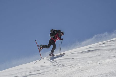 Ski-tourer in the Pelister National Park, Macedonia