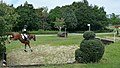 「第45回全日本総合馬術大会2015」のクロスカントリー競技でバンケット(下り)を飛越するアクション.JPG
