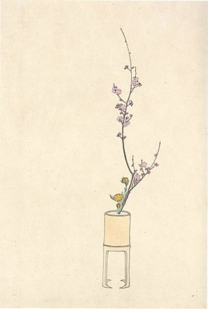 Ikebana - Shōka arrangement by the 40th headmaster Ikenobō Senjō, drawing from the Sōka Hyakki by the Shijō school, (1820)