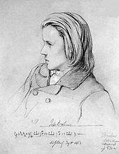 Johannes Brahms, 1853, Zeichnung von Jean-Joseph-Bonaventure Laurens (Quelle: Wikimedia)