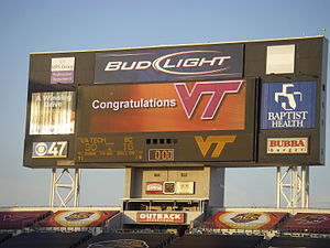 Virginia Tech Hokies football - The final scoreboard of the 2007 ACC Championship Game records the 30–16 score and congratulates Virginia Tech on its victory.