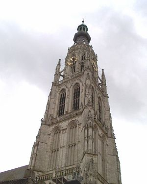 Brabantine Gothic - The 97 m high slender tower of the Church of Our Lady in Breda
