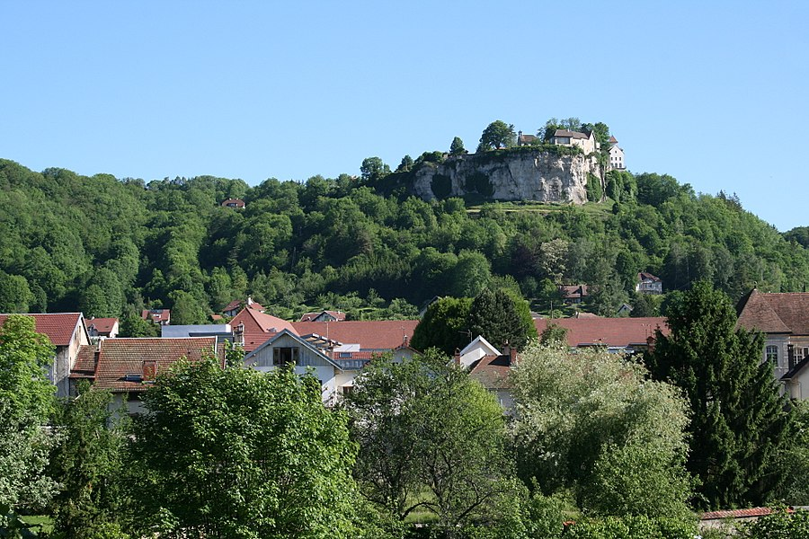 "Ornans   (Doubs - France), part of town at the foot of the cliff of ""Castle""."