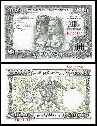Spanish peseta - A 1000 peseta banknote from 1957. The obverse shows Catholic Monarchs while the reverse shows the coat of arms of Spain.
