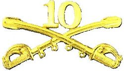 A computer generated reproduction of the insignia of the Army 10th Cavalry Regiment. The insignia is displayed in gold and consists of two sheafed swords crossing over each other at a 45 degree angle pointing upwards with a Roman numeral 10