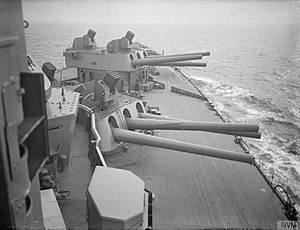 Unrotated projectile - Launchers on the roof of B and X turrets on HMS Nelson, 1940