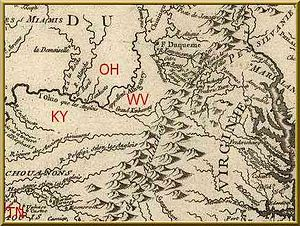 Lord Dunmore's War - From the Great Kanawha River upstream, what is now the Ohio was called the Allegheny; map, 1755.