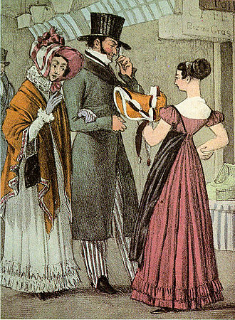 1820s in Western fashion - Shopping in Paris, 1822: The woman wears a demure bonnet, a shawl, and gloves over her dress. The man wears a top hat, long coat, tall collar, and striped trousers with straps under his shoes. 1822.