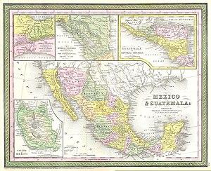Baja California Territory - 1850 map: Baja California Territory in yellow (left).
