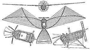 """Félix du Temple de la Croix - 1857 patent drawing of Félix du Temple's flying machine, the """"Canot planeur""""."""