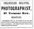 1866 Chandler Seaver photographer advert 27 Tremont Row Boston.png