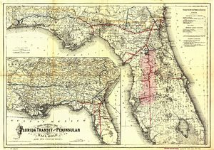 Florida Central and Peninsular Railroad - 1882 map