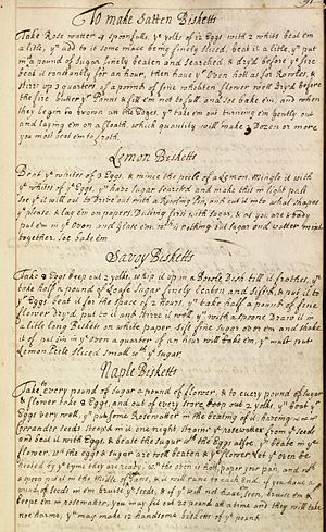 Cookbook - 18th Century Recipes for Biscuits from a private collection of recipes