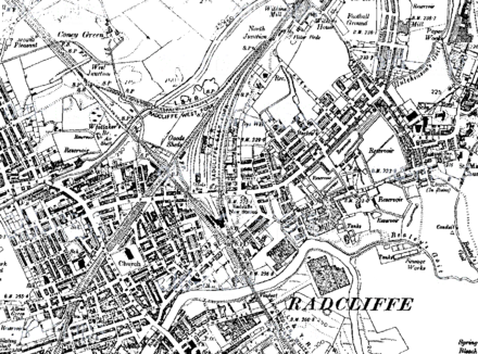 This 1911 map demonstrates the significant railway infrastructure through the town 1911 radcliffe manchester.png
