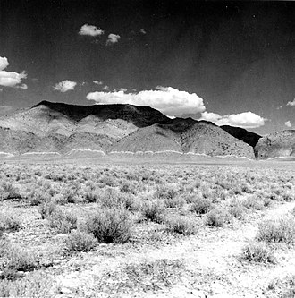 1915 Pleasant Valley earthquake - The Tobin Range on the east side of the valley showing the fault scarp (marked by the white line)
