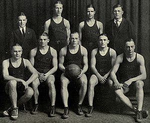 1921–22 Michigan Wolverines men's basketball team - 1921-22 Michigan men's basketball team Back (from left): Henry Stricker, Gilbert Ely, Charles Pearman, E. J. Mather Front (from left): Howard Birks, Harry Kipke, Walter Rea, Meyer Paper, George W. Miller