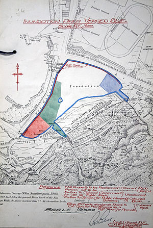 Inundation, Gibraltar - Map of the Inundation reclamation scheme put forward in 1928